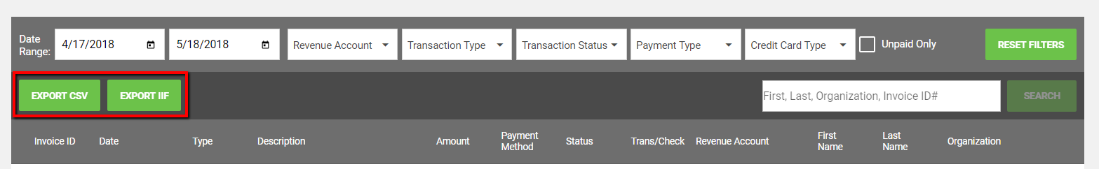 Exporting the Transaction Report – Oasis